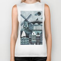 travel poster Biker Tanks featuring Amsterdam Travel Poster by ClaireIllustrations