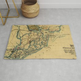 Vintage Charleston Harbor Battle Map (1865) Rug
