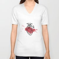 anatomical heart V-neck T-shirts featuring Anatomical heart - Art is Heart  by AdaLovesTheRain