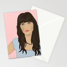Zooey Deschanel Cartoon  Stationery Cards