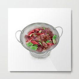 Watercolor Illustration of Chinese Cuisine - Shelduck in vinegar blood | 醋血鸭 Metal Print