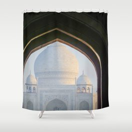First View of Taj Mahal through the Morning Mist Shower Curtain