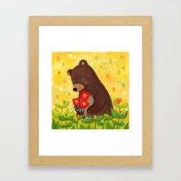 A shy bear Framed Art Print