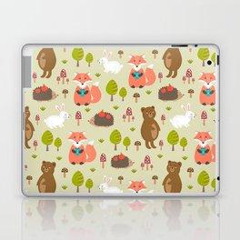 Hand drawn modern coral white green autumn animal Laptop & iPad Skin