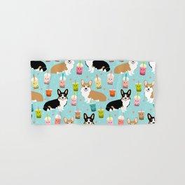 Corgi boba tea bubble tea kawaii food welsh corgis dog breed gifts Hand & Bath Towel