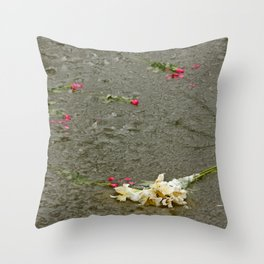 Flowers in a frozen pond Throw Pillow