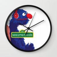 sesame street Wall Clocks featuring Sesame Beats by DuverneB