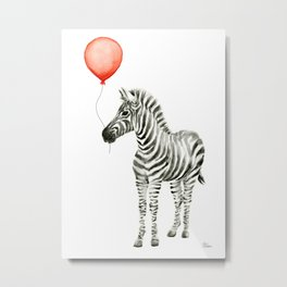 Baby Zebra Whimsical Animal with Red Balloon Nursery Art Metal Print