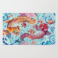 koi fish Area & Throw Rugs featuring Koi Fish by Art by Risa Oram