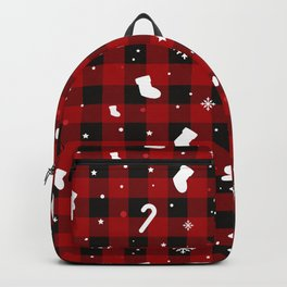 Christmas Plaid Snowflakes Ginger Bread Cookie Candy Cane Xmas Pattern (red and black) Backpack