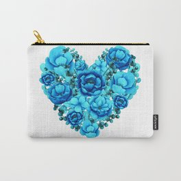 Elegant Floral Heart in Blue Hues Carry-All Pouch