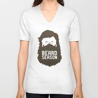 gold V-neck T-shirts featuring Beard Season by Chase Kunz