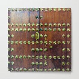 Binary coded wood door Metal Print