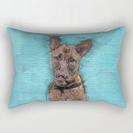 Belgian Malinois Puppy Sketch - Mechelaar Rectangular Pillow
