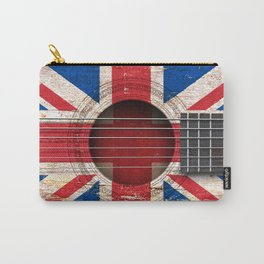 Old Vintage Acoustic Guitar with Union Jack British Flag Carry-All Pouch