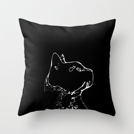 Cat head silhouette, black and white minimal drawing, digital kitty portrait Throw Pillow