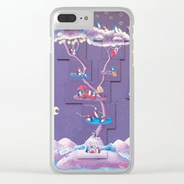 Dream Tree with penguins in a purple starry sky inspired by a village in Spain. Clear iPhone Case