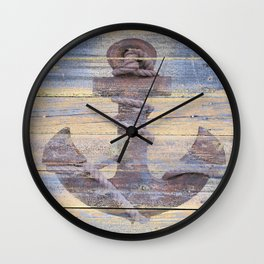 Rusty Anchor Grey Blue Beach Lake House Coastal Home Decor A177 Wall Clock
