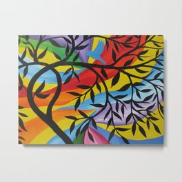 red yellow blue green purple print of a tree of life art design trees birds branches happy prints Metal Print