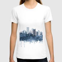 Pittsburgh City Skyline Watercolor Blue by Zouzounio Art T-shirt