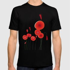 Flaming Poppies Black MEDIUM Mens Fitted Tee
