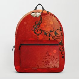 Music, clef with decorative floral elements Backpack