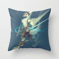 soldier Throw Pillows featuring Soldier by Liz Liu
