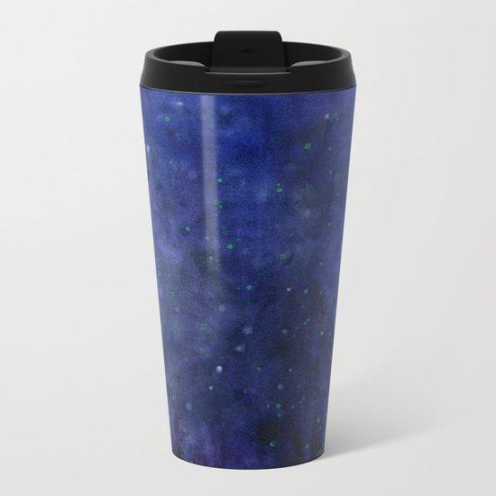 Galaxy Watercolor Nebula Texture Night Sky Stars Metal Travel Mug