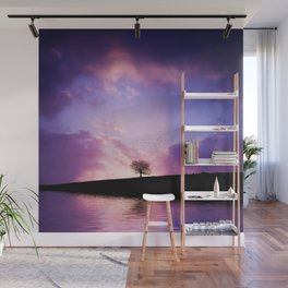 The sunset tree Wall Mural