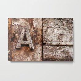 Weathered wood letter A Metal Print