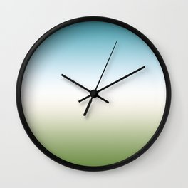 Gradient. Turquoise, white, green. Ombre. Wall Clock