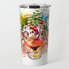 creative color ink splash tiger avatar Travel Mug
