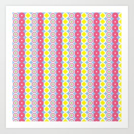 Pattern Blue & Pink Art Print