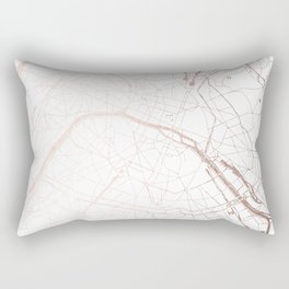Paris France Minimal Street Map - Rose Gold Glitter Rectangular Pillow