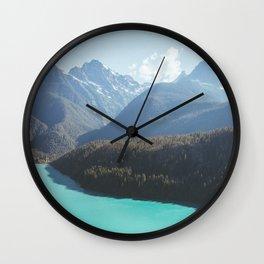 Brilliant Blue Diablo Lake Wall Clock