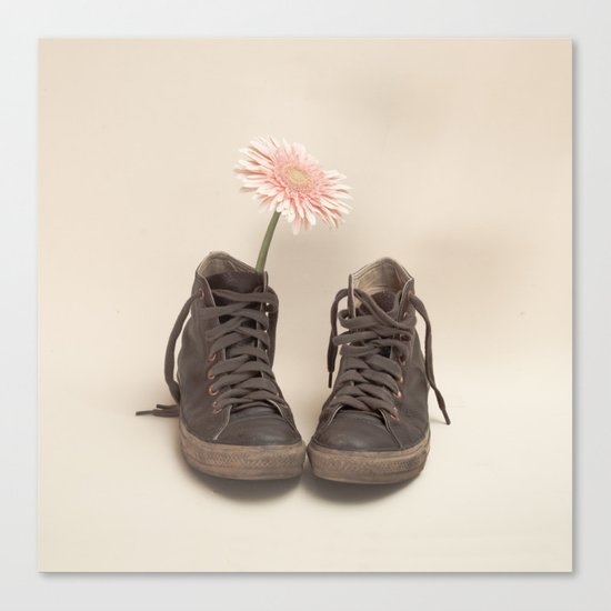 Brown Converse Boots and Pink Flower (Retro Still Life Photography)  Canvas Print