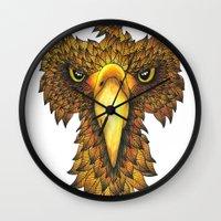 phoenix Wall Clocks featuring Phoenix by J Bradford Illustration