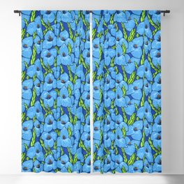 Blue Puya Flowers Botanical Floral Pattern Blackout Curtain