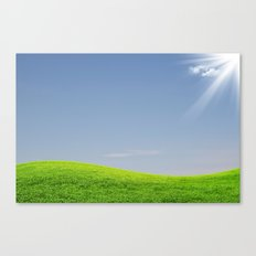 Green field and blue sky Canvas Print