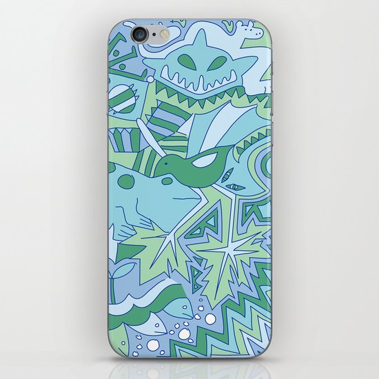 Abstract Animals - Blue and Green  iPhone & iPod Skin