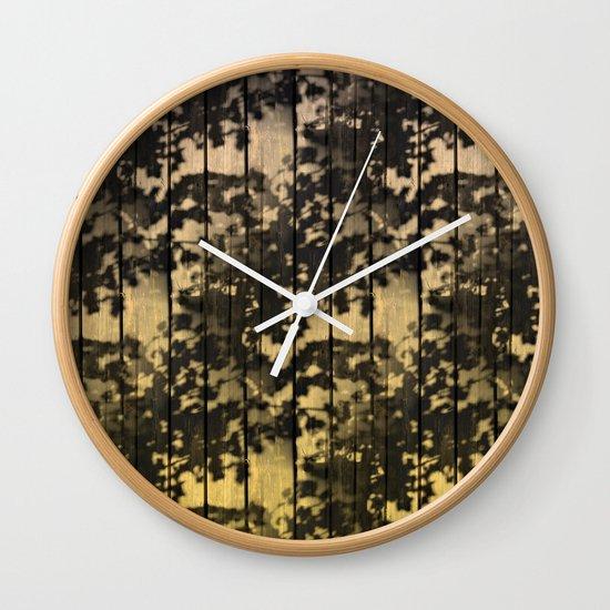 Wall clock with leaf design : Leaf shadows on deck nude yellow wall clock by