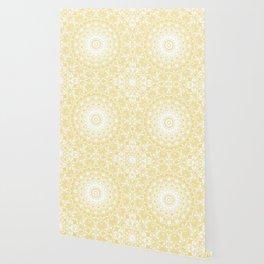 White Lace Mandala on Sunshine Yellow Background Wallpaper