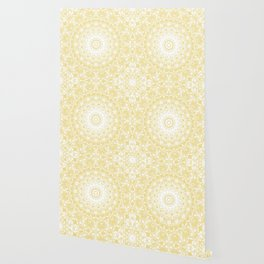 White Lace Mandala on Sunshine Yellow Background Wallpaper