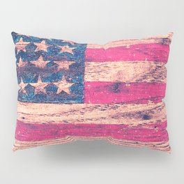 Vintage Pink Patriotic American Flag Retro Wood Pillow Sham