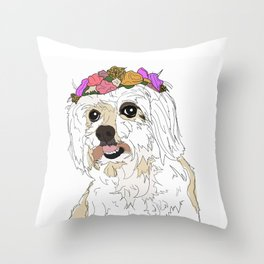 Maltese with flowers Throw Pillow