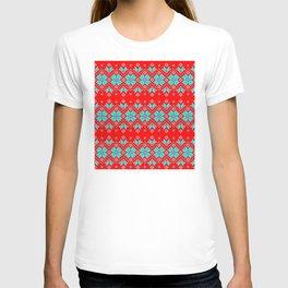 Wellspring - Star Alatyr - Ethno Ukrainian Traditional Pattern - Slavic Symbol - Lazure Blue White on Red T-shirt