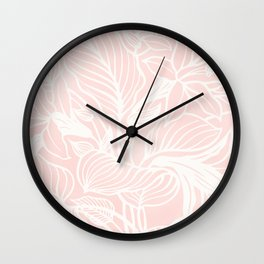 Pink Coral Floral Garden Wall Clock