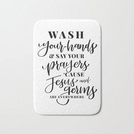 Jesus and Germs Bathroom Art Bath Mat