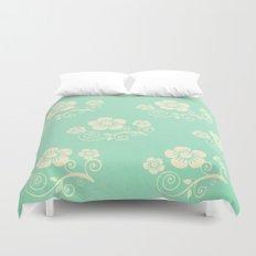 Plein Air Green Floral Pattern Design Duvet Cover