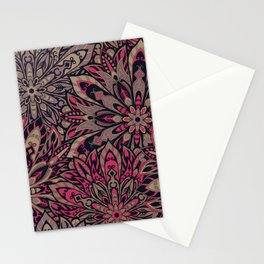 Beautiful old brown pink colorful mandala Tribal ornament pattern Stationery Cards